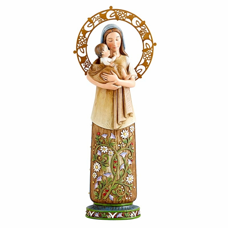 Madonna and Child Summer Season with Floral Designs Statue