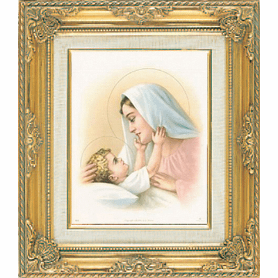 Madonna and Child under Glass w/Gold Framed Picture by Cromo N B Milan Italy