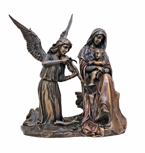 Madonna and Child w/Angel Song Cold-Cast Bronze Statue by Veronese