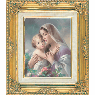 Madonna and Child with Flowers under Glass w/Gold Framed Picture by Cromo