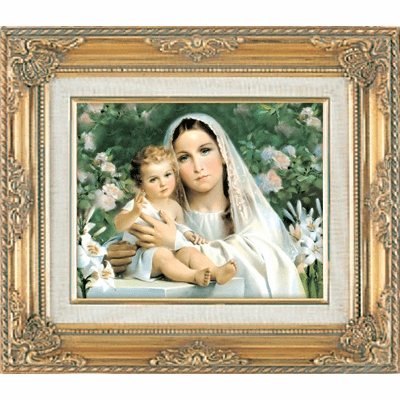 Madonna and Child with Lillies under Glass w/Gold Framed Picture by Cromo
