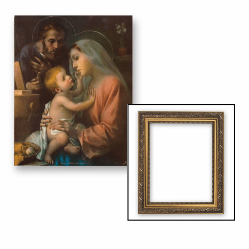 Madonna and Child with St Joseph Framed Print Picture with Gold Frame by Gerffert