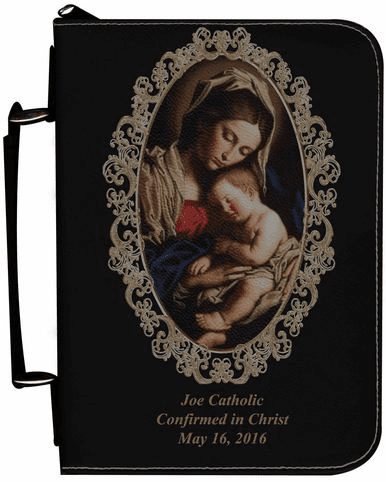 Madonna and Her Child Personalized Black Catholic Bible Cover Case