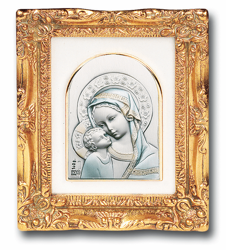 Madonna & Child Flower Halo Sterling Image w/Antique Gold Picture by Salerni