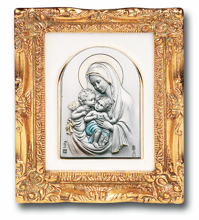 Madonna & Child w/Angel Sterling Image w/Antique Gold Picture by Salerni