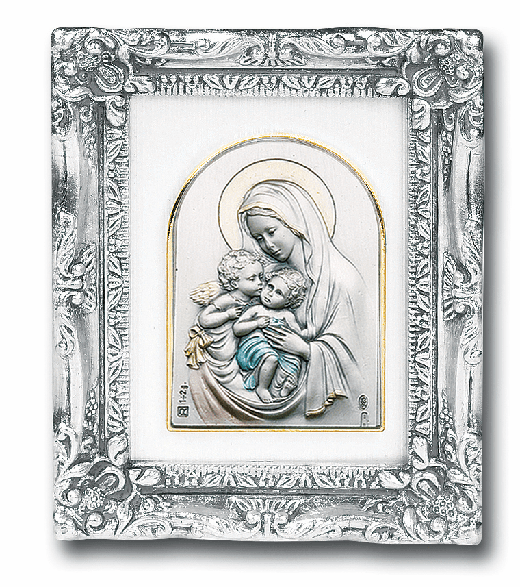 Madonna & Child with Angel Sterling Image w/Antique Silver Frame Picture by Salerni