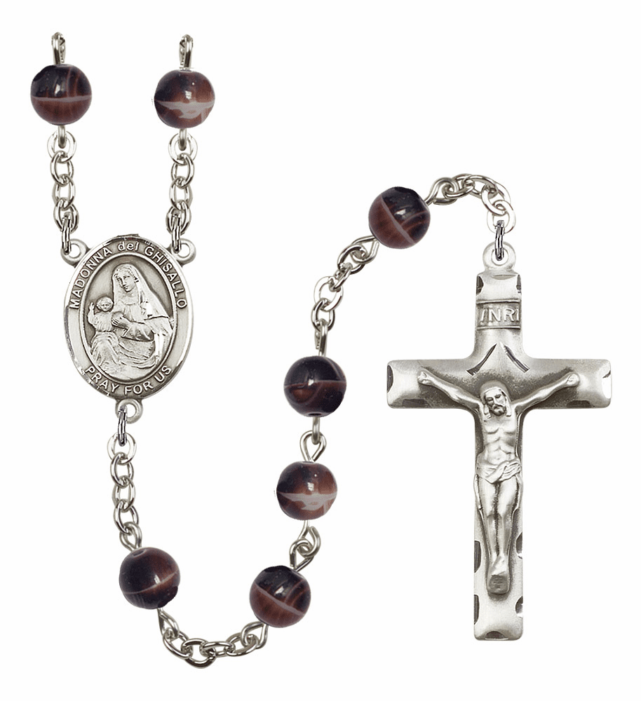 Madonna Del Ghisallo 7mm Brown Gemstone Prayer Rosary by Bliss