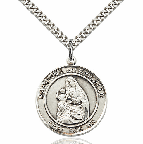 Madonna del Ghisallo Round Patron Saint Medal Necklace by Bliss