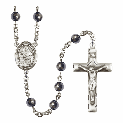 Madonna Del Ghisallo Silver Plate Gemstone Prayer Rosary by Bliss
