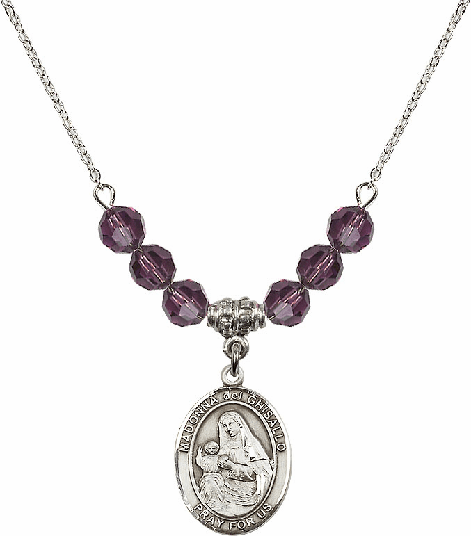 Madonna Del Ghisallo Sterling February Amethyst Swarovski Crystal Beaded Necklace by Bliss Mfg