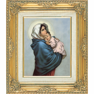 Madonna Ferruzi under Glass w/Gold Framed Picture by Cromo N B Italy