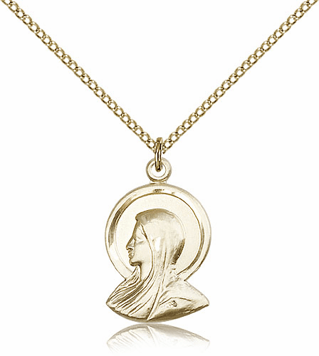 Madonna Gold Filled Pendant Necklace with Chain by Bliss