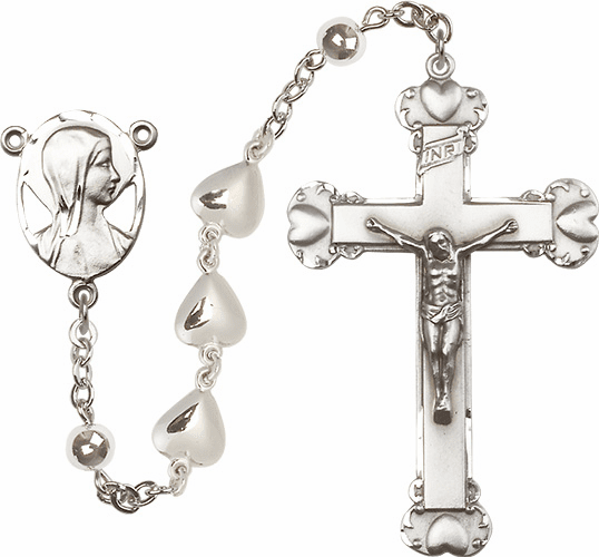Madonna Novena Solid Heart Charm Sterling Silver Prayer Rosary