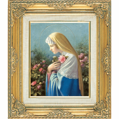 Madonna with Flowers with Angels under Glass w/Gold Framed Picture by Cromo N B