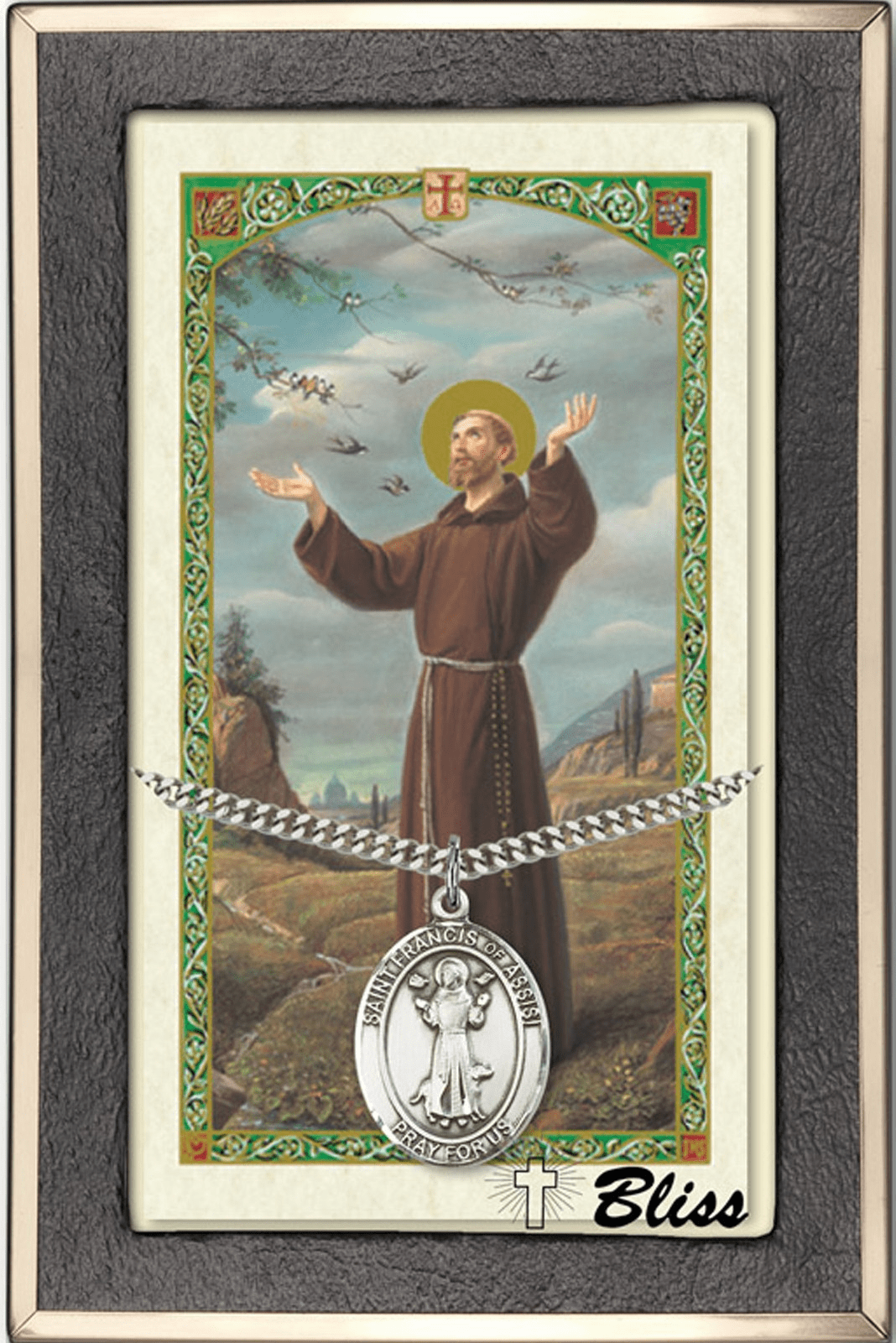 Male Patron Saint Prayer Card &  Necklace Gift Sets