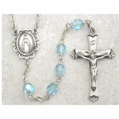 March Aqua Birthstone Crystal Sterling Silver Prayer Rosary by McVan