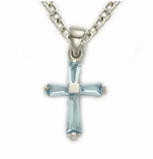 March Aqua Crystal Birthstone Baby Cross Necklace by Singer