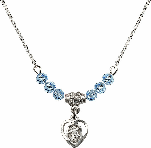 March Aqua Guardian Angel Heart Charm 6 Crystal Bead Necklace by Bliss Mfg