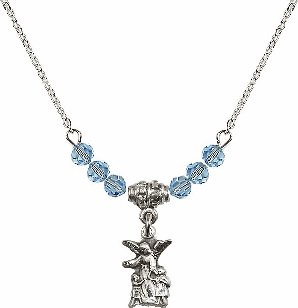 March Aqua Littlest Angel Charm 6 Crystal Bead Necklace by Bliss Mfg