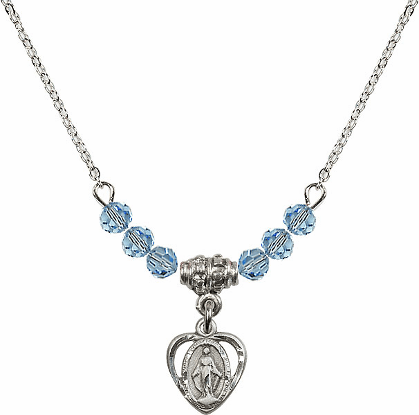 March Aqua Miraculous Heart Charm 6 Crystal Bead Necklace by Bliss Mfg