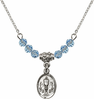 March Aqua Oval Chalice Charm Crystal Bead Necklace by Bliss Mfg