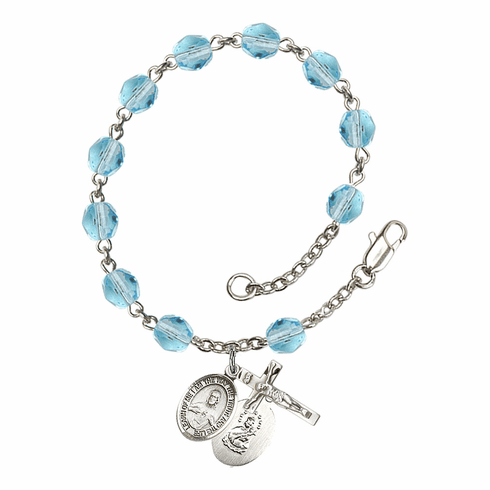 March Aqua Sacred Heart of Jesus Scapular Birthstone Rosary Bracelet by Bliss