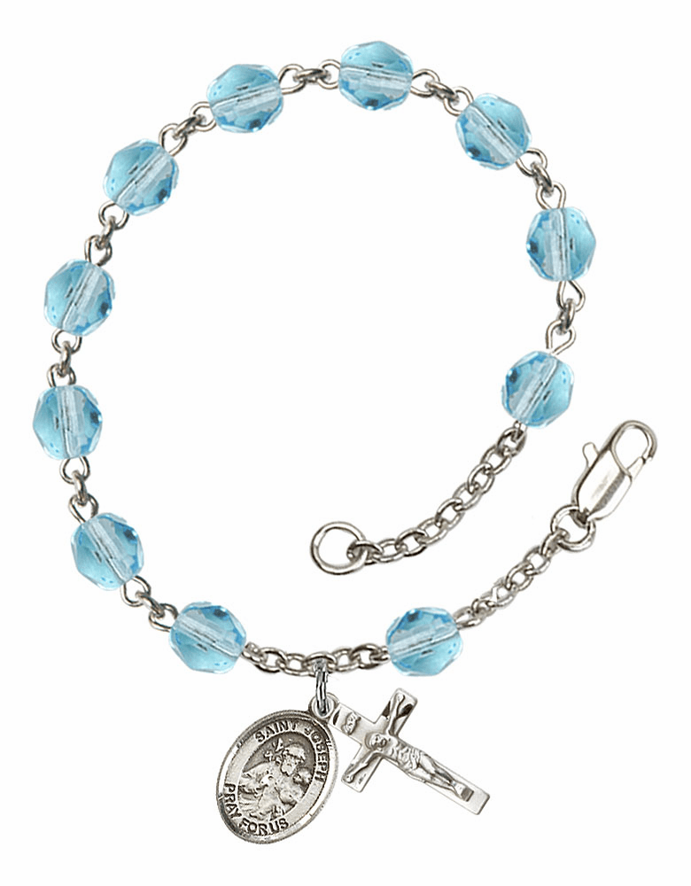 March Aqua St Joseph Birthstone Rosary Bracelet by Bliss