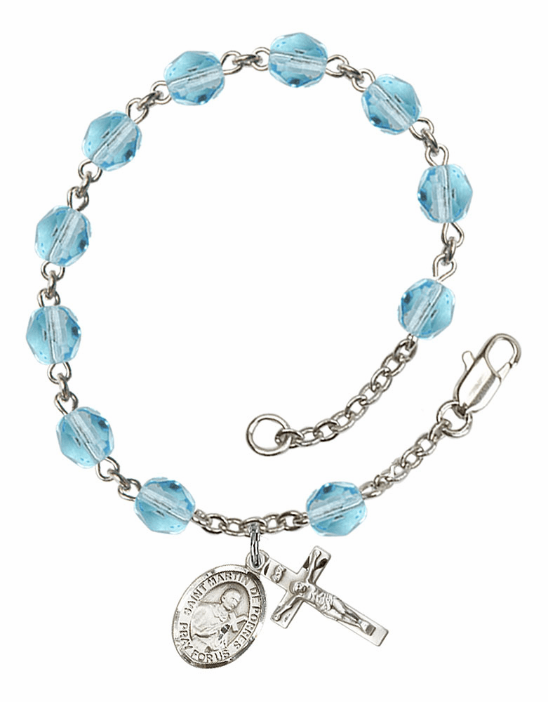 March Aqua St Martin de Porres Birthstone Rosary Bracelet by Bliss