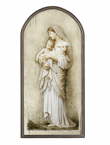 Marco Sevelli Innocence Mary, Jesus & Lamb Arched Plaque