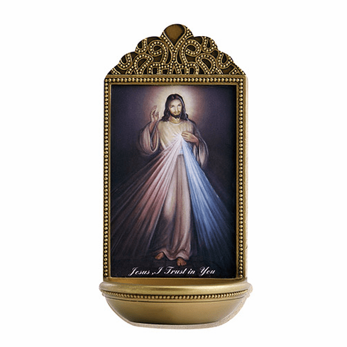 """Marco Sevelli Tile Divine Mercy 6"""" Holy Water Font"""