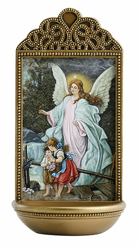 "Marco Sevelli Tile Guardian Angel 6"" Holy Water Font"