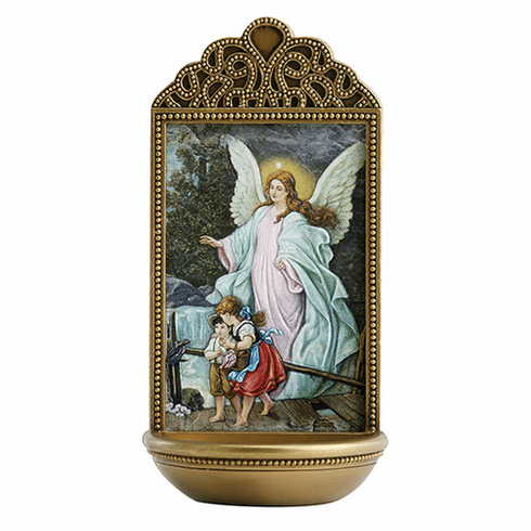"""Marco Sevelli Tile Guardian Angel 6"""" Holy Water Font"""