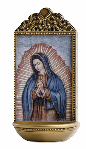 """Marco Sevelli Tile Our Lady of Guadalupe 6"""" Holy Water Font"""
