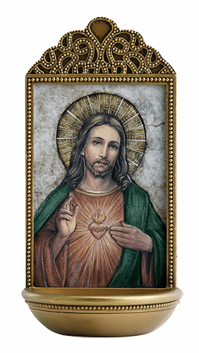 """Marco Sevelli Tile Sacred Heart 6"""" Holy Water Font"""