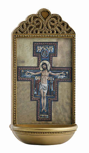 "Marco Sevelli Tile San Damiano Crucifix 6"" Holy Water Font"
