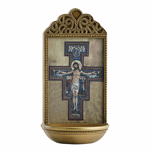"""Marco Sevelli Tile San Damiano Crucifix 6"""" Holy Water Font"""