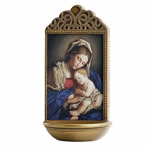 """Marco Sevelli Tile Sassoferrato Madonna and Child 6"""" Holy Water Font"""