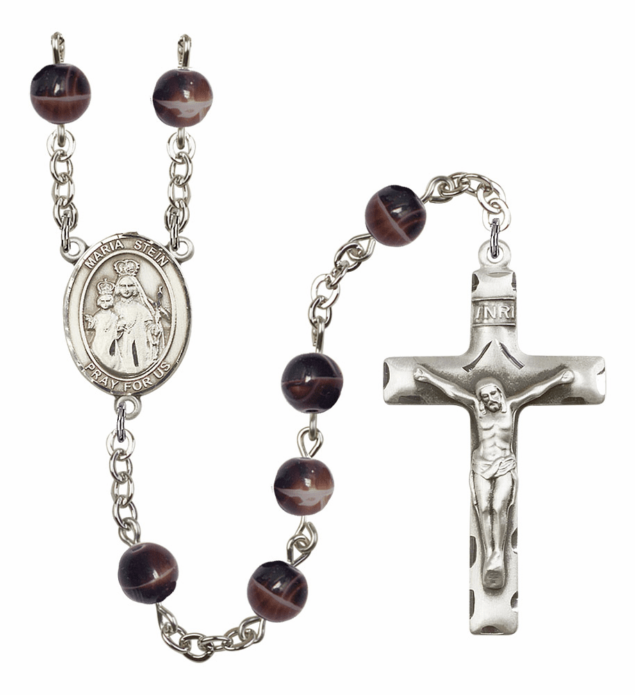 Maria Stein 7mm Brown Gemstone Prayer Rosary by Bliss