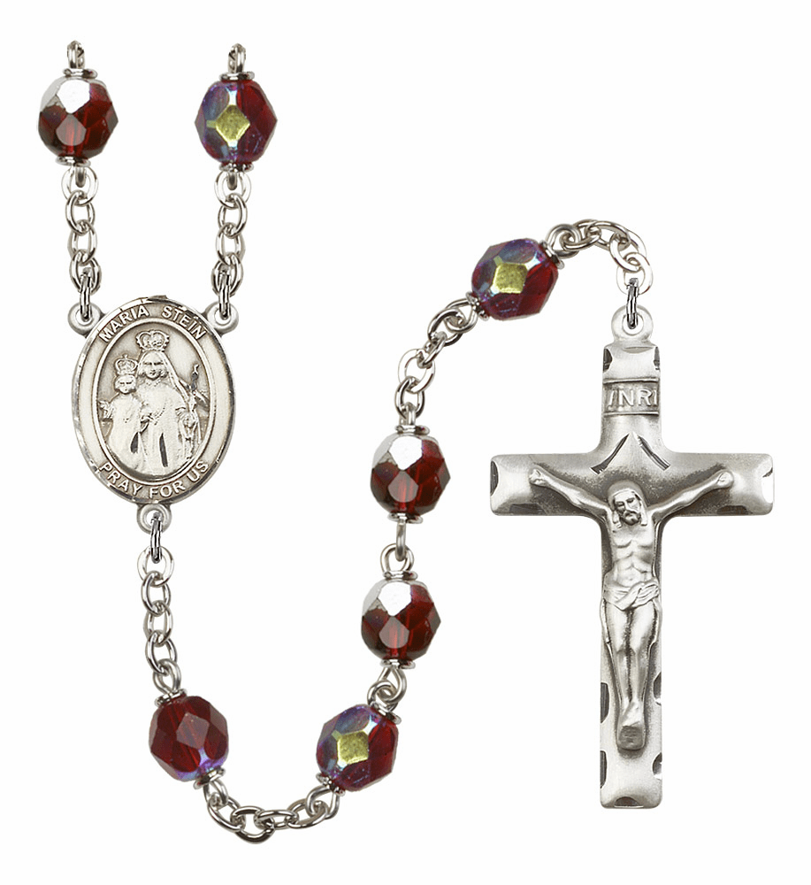 Maria Stein 7mm Lock Link Aurora Borealis Garnet Rosary by Bliss Mfg