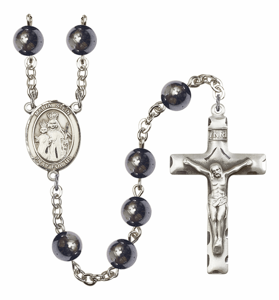 Maria Stein 8mm Hematite Gemstone Prayer Rosary by Bliss
