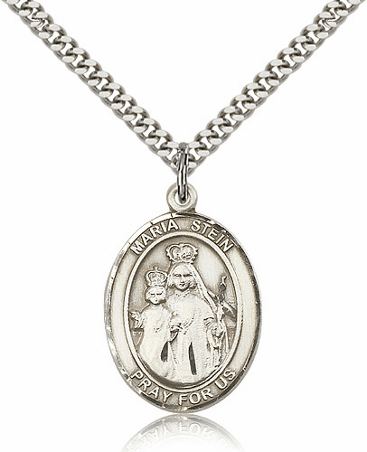 Maria Stein Silver-filled Patron Saint Necklace with Chain by Bliss
