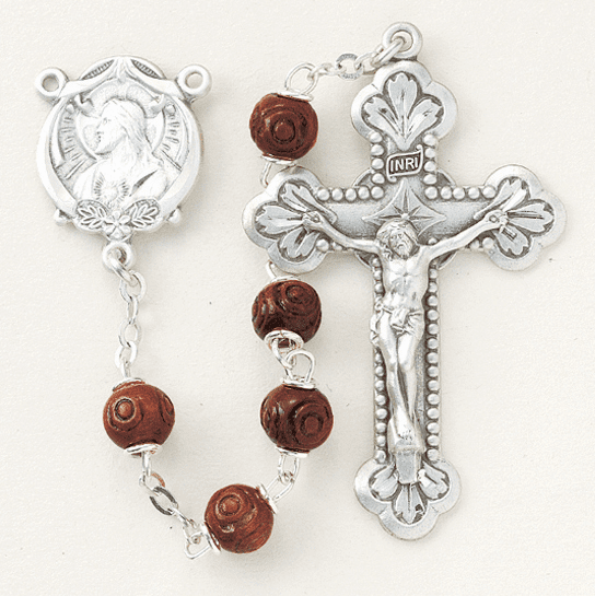 Maroon Carved Coco Sterling Silver Scapular Rosary by HMH Religious
