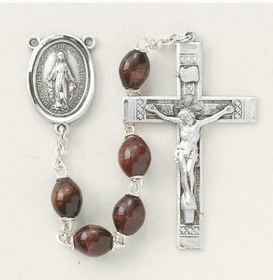 Maroon Polished Oval Boxwood Sterling Silver Rosary by HMH Religious