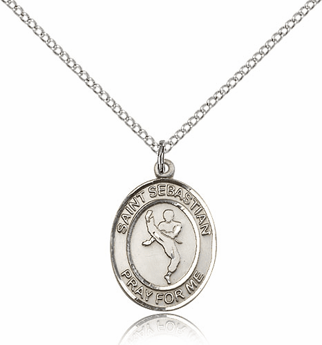 Martial Arts St Sebastian Karate Sterling Silver Saint Medal by Bliss