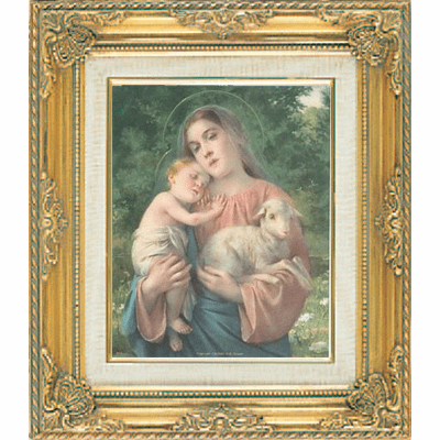 Mary, Baby Jesus and Lamb under Glass w/Gold Framed Picture by Cromo N B