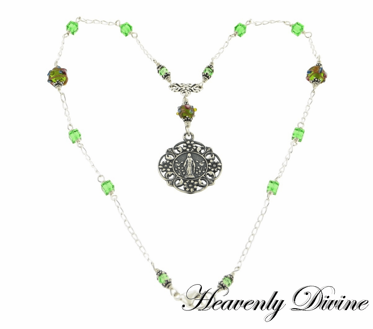 Mary Flower Peridot Swarovski Sterling Silver Necklace by Heavenly Divine