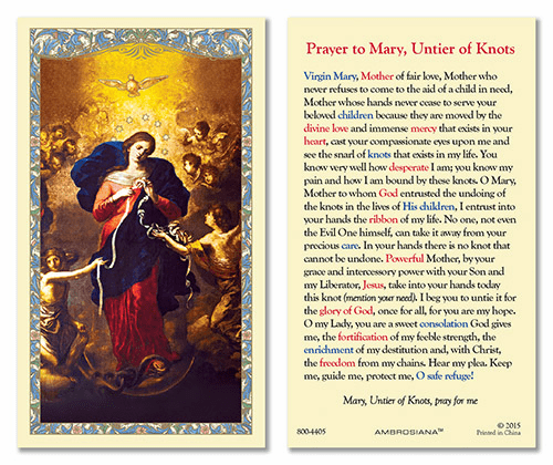 Mary, Our Lady of Untier of Knots Laminated Gerffert 25pkg Holy Cards