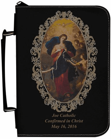 Mary Undoer of Knots Personalized Black Catholic Bible Cover Case