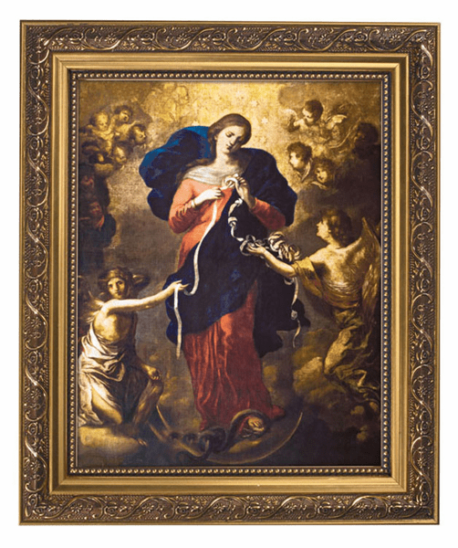 Mary Untier of Knots Framed Print Picture with Gold Frame by Gerffert