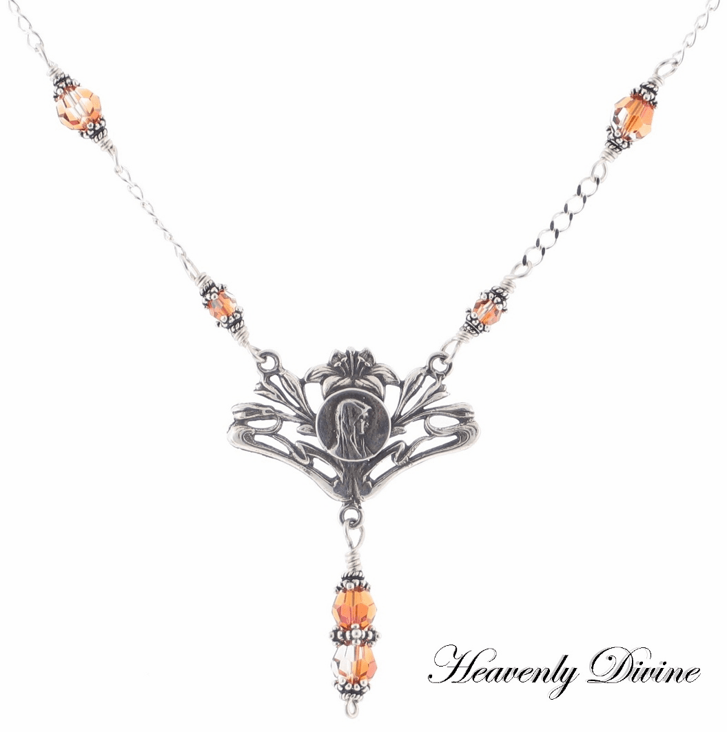 Mary w/Lilies Swarovski Crystal Necklace by Heavenly Divine